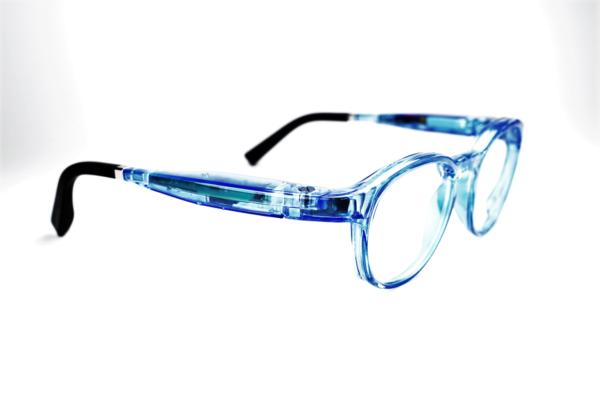 Serenity Eyewear Ronde Bleu translucide profil